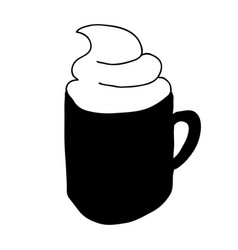 Black silhouette hand drawn with coffee cup with vector