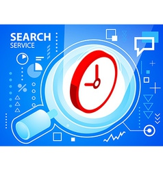 bright search glass and clock on blue backgr vector image vector image