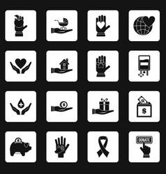 Charity icons set squares vector
