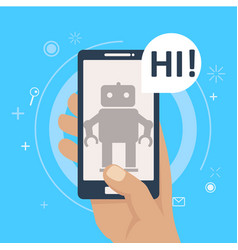Chat bot on phone in hand vector