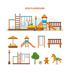 Children s entertainment playground benches vector