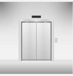 Closed chrome metal elevator doors vector