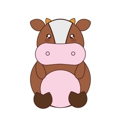Cute cow kawaii style vector