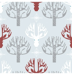 Deer and trees print vector image vector image