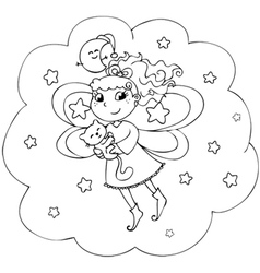 Fairy lady flying in a starry night vector image