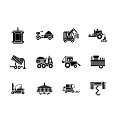Farming vehicles glyph style icons set vector image
