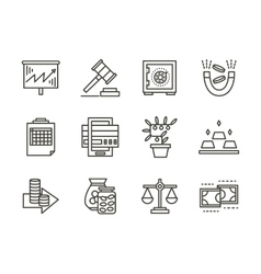 Finance black line icons set vector image