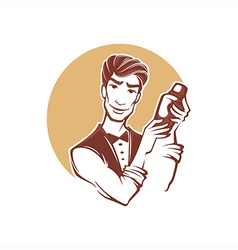 handsome barman vector image