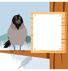 Happy crow on the winter flat backgrownd vector