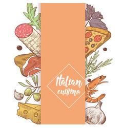 italian cuisine sketch doodle food menu design vector image