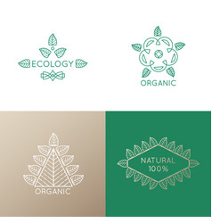 logo set of nature elements vector image