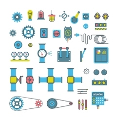 Machinery parts flat icons vector image