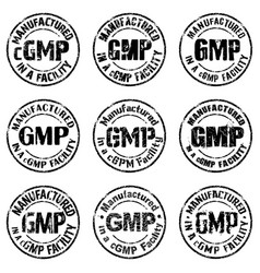 manufactured in a cgmp facility sign vector image vector image