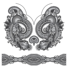 Neckline grey embroidery fashion black and white vector