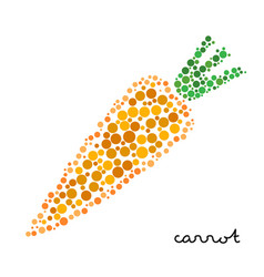orange carrot silhouette created from dots vector image vector image