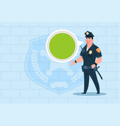 policeman with chat bubble wearing uniform cop vector image vector image