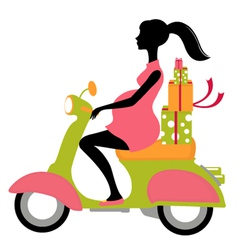 Pregnant woman scootering with gifts vector