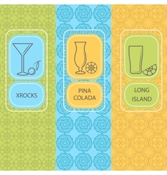 Set linear cocktail card brochures vector