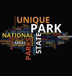 The most unique park in the usa text background vector