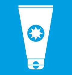Tube with sunbathing cream icon white vector