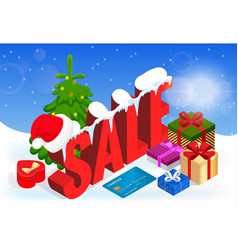 winter christmas sale banner vector image vector image