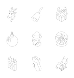 Winter holiday icons set outline style vector