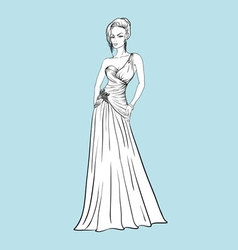 Young woman in a wedding dress vector image
