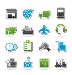 Logistic cargo and transportation icons vector