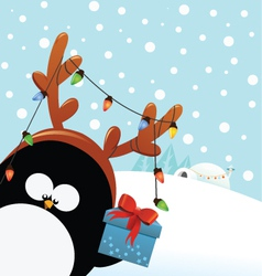 Reindeer Costumed Penguin With Gift vector image