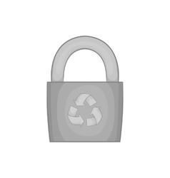 Padlock with recycling symbol icon vector