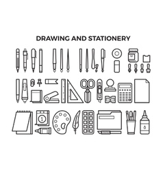 Office stationery and drawing tools line icons vector