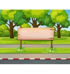 Wooden sign in the public park vector