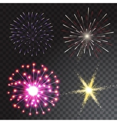 Set of coloured firework isolated on transparent vector