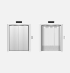 Open and closed modern chrome metal elevator doors vector