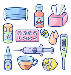 Medicines and medical objects set treatment of vector