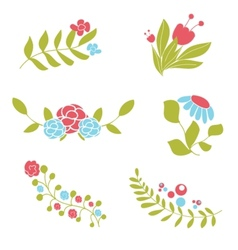 Set of cute abstract floral bouquets and wreaths vector
