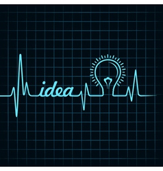 Heartbeat make idea word and light-bulb vector
