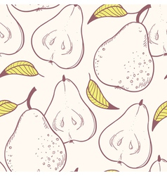 Stylized yellow pear seamless pattern vector