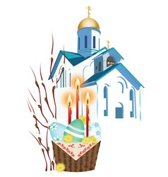 Orthodox church and a basket with easter eggs vector