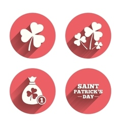 Saint patrick day icons money bag with coin vector