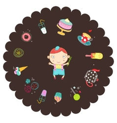 Boy with sweets vector