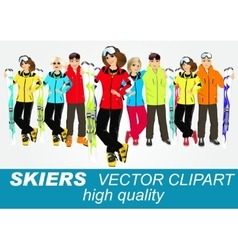 Portrait of group of skiers vector