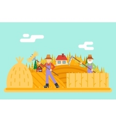 Autumn hay peasant harvestman harvest icon on vector