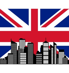 city and flag of great britain vector image