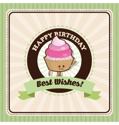 Happy birthday design cupcake icon colorfull vector