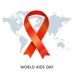 Aids ribbon on world map vector