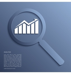 Analysis magnifying glass with icon vector