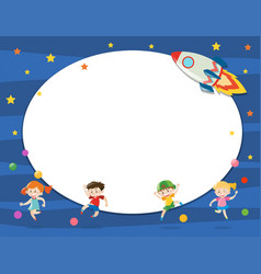 Border template with children in space vector