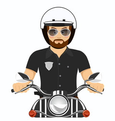 brutal bearded police officer riding a motorcycle vector image