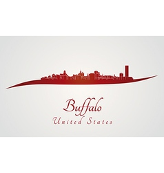 Buffalo skyline in red vector